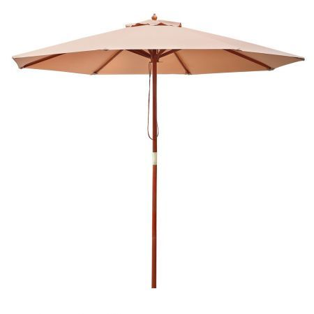 Instahut 2.7M Outdoor Pole Umbrella Cantilever Stand Garden Umbrellas Patio Beige