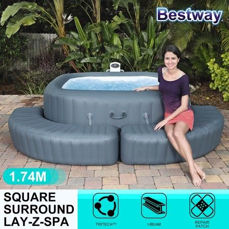 Lay Z Spa Pool Surrounds Air Sofa Hot Tub Square Surrounds 1.74m X 40cm X 35cm