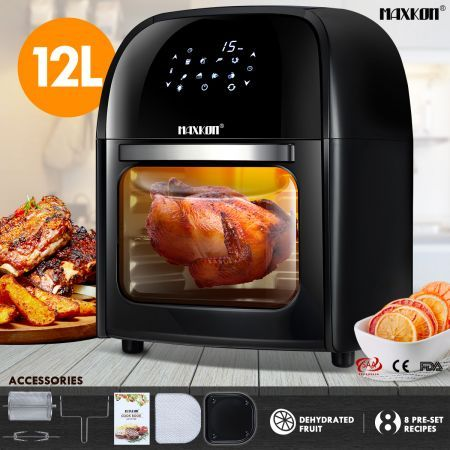 Maxkon Air Fryer Cooker Convection Oven Small Oven 12L with Bonus Recipes Black