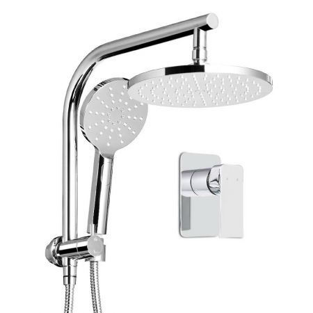 WELS Round 9 inch Rain Shower Head and Mixer Set Bathroom Handheld Spray Bracket Rail Chrome