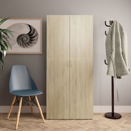 Shoe Cabinet Sonoma Oak 80x35.5x180 cm Chipboard