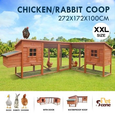 Petscene Extra Large Chicken Coop House 272cm Rabbit Hutch Animal Poultry Cage