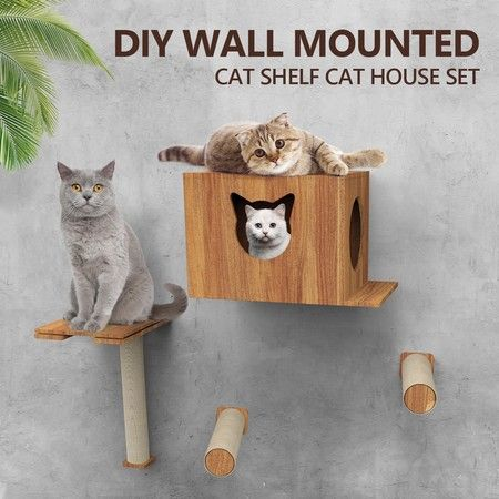Deluxe Wall Mounted Cat Tree Cat Perch House Shelf Sisal