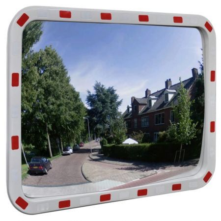 Convex Traffic Mirror Rectangle 60 x 80 cm with Reflectors