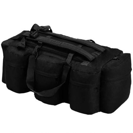 3-in-1 Army-Style Duffel Bag 120 L Black