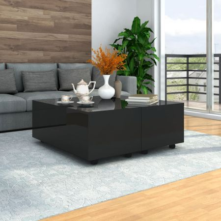 Coffee Table High Gloss Black 100x100x35 cm