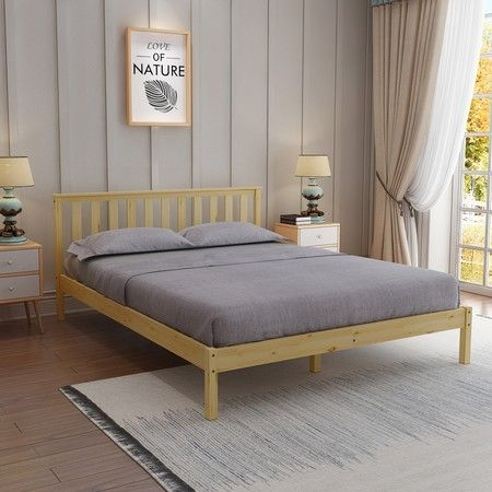 Wooden Bed Frame Double Size Oak Platform Bed Base Bedroom Furniture