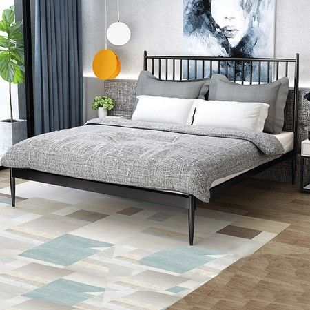 Queen Modern Metal Bed Frame Iron Bed Base Bedroom Furniture Black