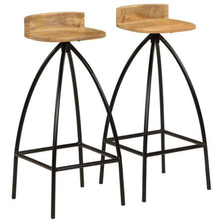 Bar Chairs 2 pcs Solid Mango Wood 40x40x82 cm