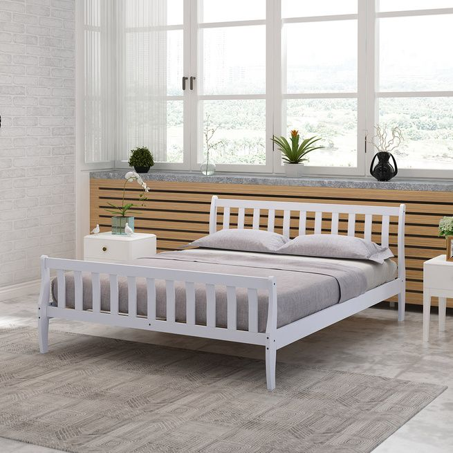 Single Size Wooden Bed Frame Sleigh Platform Bed Base Bedroom Furniture