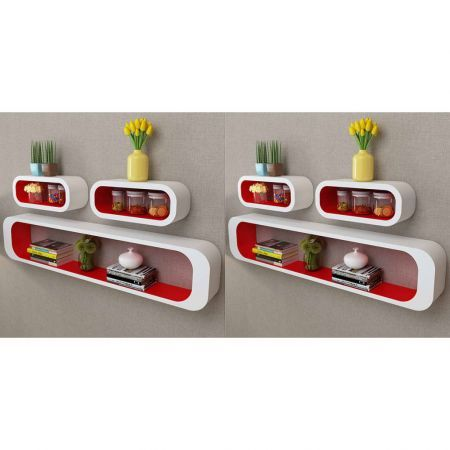 Wall Cube Shelves 6 pcs Red and White
