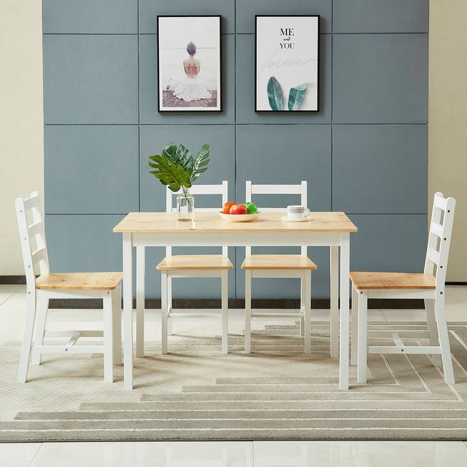 Wooden Table and Chairs 5-Piece Dining Set Kitchen Furniture-Oak & White