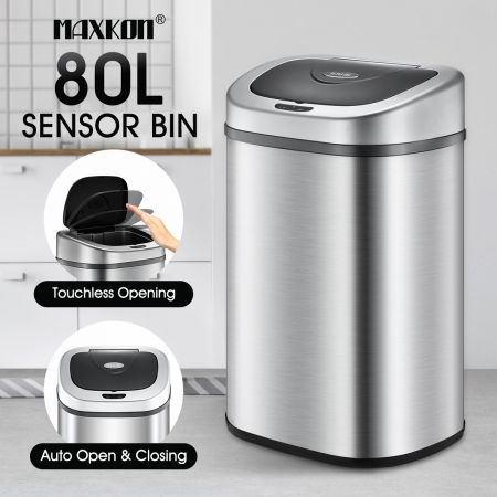 80L Stainless Steel Motion Sensor Dustbin Recycle Bin Automatic Rubbish Kitchen Waste Trash Can