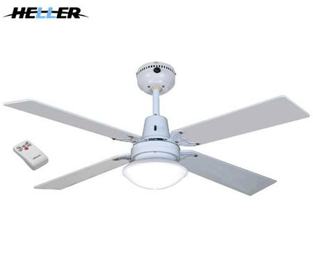Heller Sienna 1200mm Reversible 4 Blade Ceiling Fan with Oyster Light & Remote - White & Cherrywood