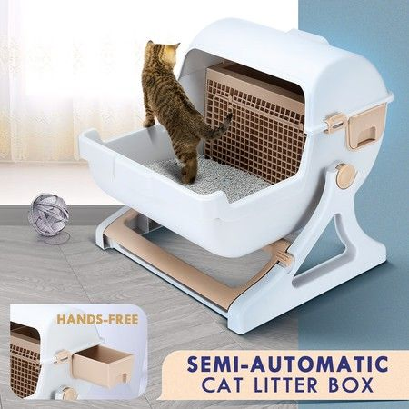 Petscene Cat Litter Box Pet Semi Automatic Cat Toilet Cat Furniture