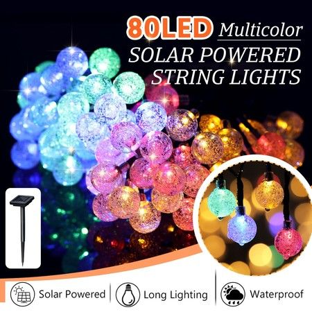 Solar Fairy Lights String Lights Christmas Decorations with 80 LED Crystal Ball Multicolour
