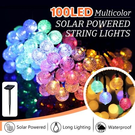 Solar Fairy Lights String Lights Christmas Decorations with 100 LED Crystal Balls Multicolour