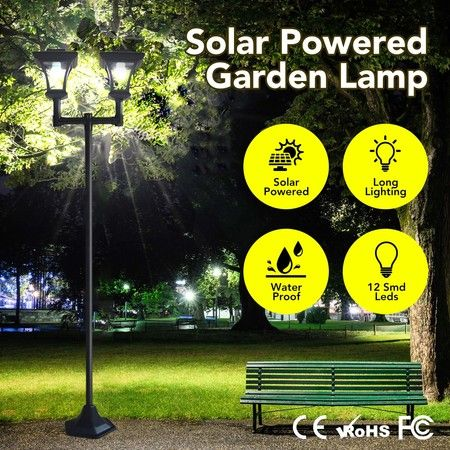 Deluxe Outdoor Solar Lights Garden Lamp Post with Double Lamp