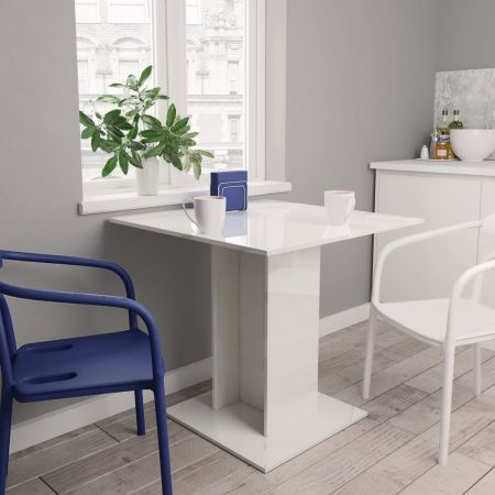 Dining Table High Gloss White 80x80x75 cm Chipboard