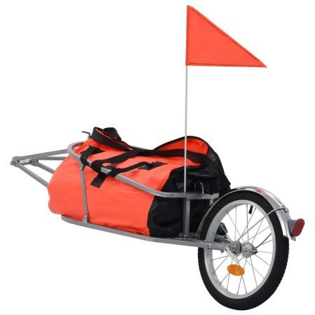 Bike Luggage Trailer with Bag Orange and Black