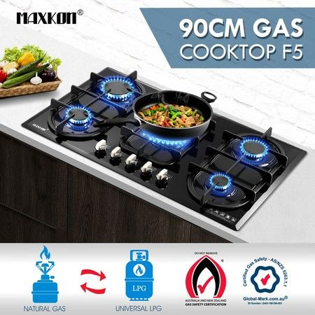 90cm Gas Cooktop Black Crystal Glass Top 5 Burner Gas Stove NG LPG