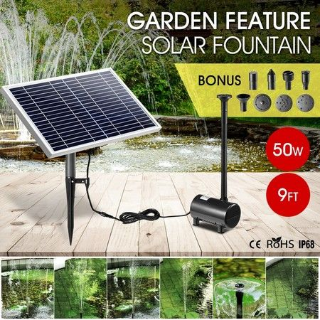 50W Solar Powered Fountain Water Pump for Birdbath Fish Pond Garden Pool