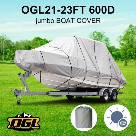 OGL 21-23 ft Trailerable Jumbo Boat Cover Waterproof Marine Grade Fabric