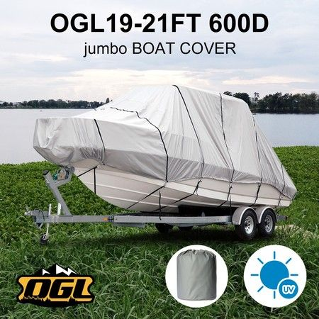 OGL 19-21 ft Trailerable Jumbo Boat Cover Waterproof Marine Grade Fabric