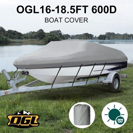 OGL 16-18.5 ft Trailerable Boat Cover Waterproof Marine Grade Fabric for V Hull Fishing Boats