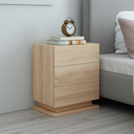Oak High Gloss Front Bedside Table Three Drawer Nightstand