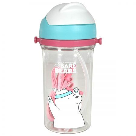 We Bare Bears Water Bottle with Straw 400ml - Ice Bear