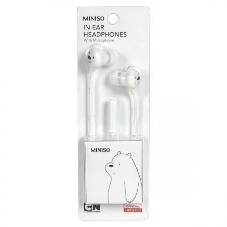 We Bare Bears - In-Ear Headphones With Microphone (White)