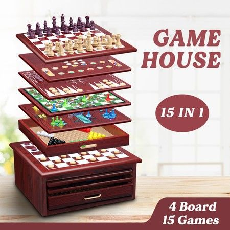 New 15-in-1 Chess Game Set Wooden Board Game Checker Backgammon Solitaire