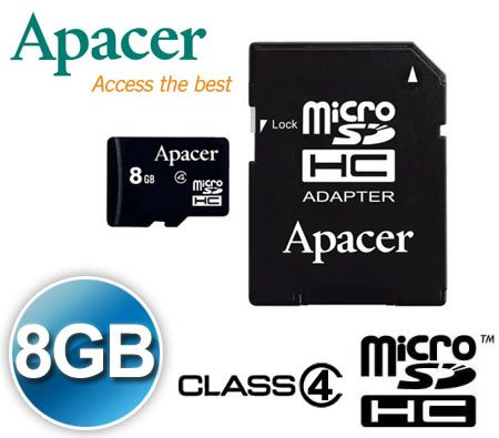 FREE SHIPPING! Apacer 8GB Micro SD HC SDHC MicroSDHC MicroSD High Capacity Memory Card 8G 8 GB  Class 4 with MicroSD Adapter