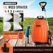 Garden Sprayer on Wheels 16L 12V Pump Weed Sprayer with Car Wash Brush Orange