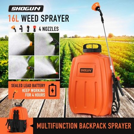 16L Backpack Sprayer Electric Weed Sprayer Garden Farm Pump Spraying - Orange