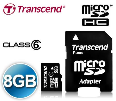 FREE SHIPPING! Transcend  8GB Micro SD HC SDHC MicroSDHC MicroSD High Capacity Memory Card 8G 8 GB  Class 6 with MicroSD Adapter