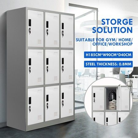 9 Doors Locker Cabinet Steel Storage Cupboard for Home Office School Gym