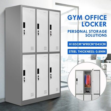 6 Doors Locker Cabinet Steel Storage Cupboard for Home Office School Gym