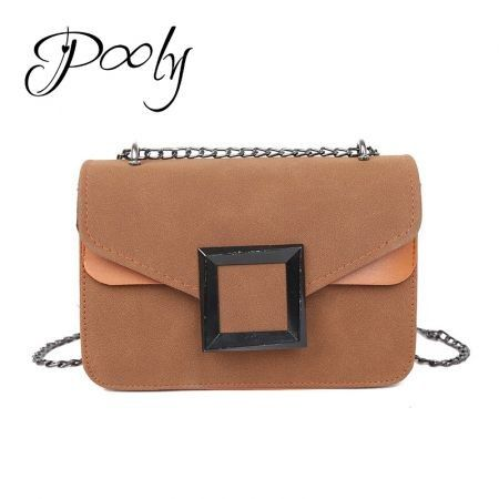Poly  Matte Suede Chain Crossbody Mini Shoulder Bag