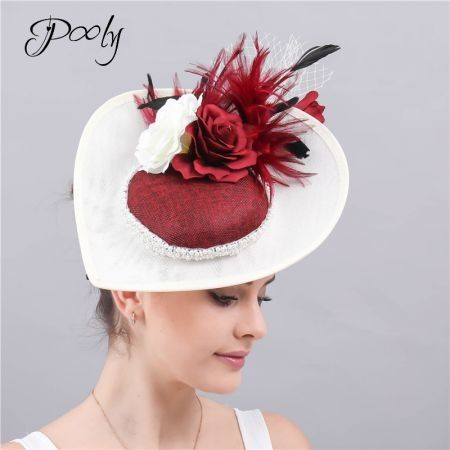 Poly   Fascinators Hats  Feather Flower   Pillbox Hat Cocktail Tea Party Headwear White Red