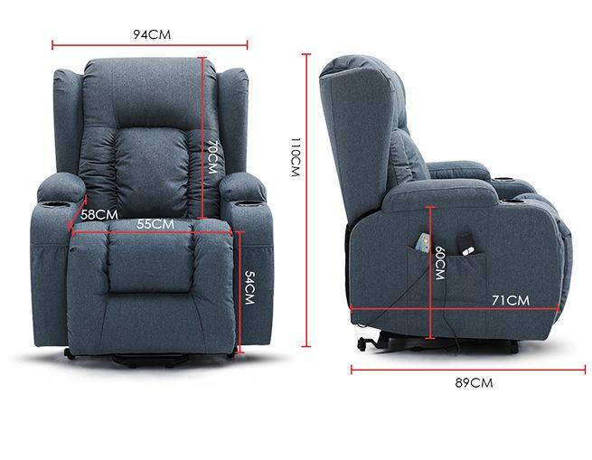 Electric Massage Chair Recliner Linen Fabric Sofa Lift