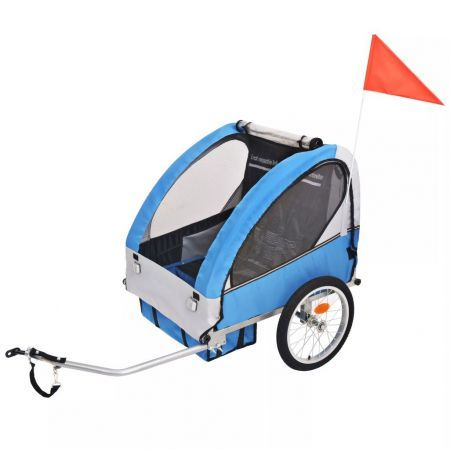 Kids' Bicycle Trailer 30kg - Grey and Blue