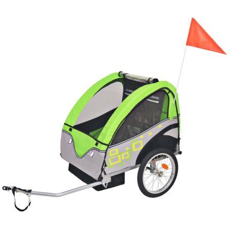 Kids' Bicycle Trailer 30kg - Grey and Green