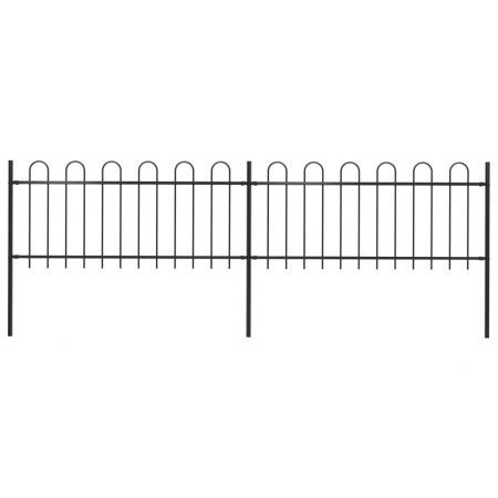 Garden Fence with Hoop Top Steel 3.4x0.8 m Black