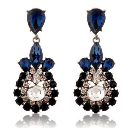 Poly  Shiny Gem Oval drop Pierced Earrings - Crazy Sales