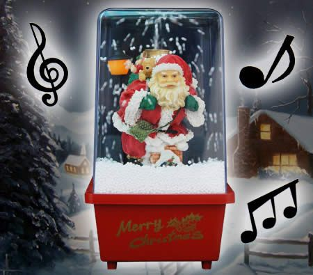 Musical Snowing Santa with Lights Christmas Decoration in Red