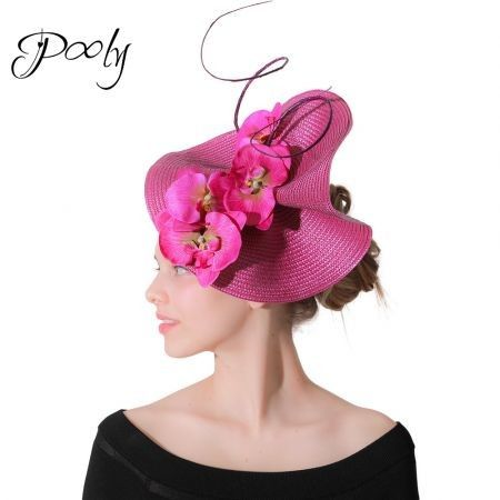 Poly Flax Fascinator  Butterfly Orchid Occasion Hat Cocktail Tea Party Headwear  Fushia
