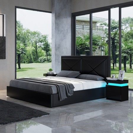 Modern Black Leather Storage Bed Frame - Queen