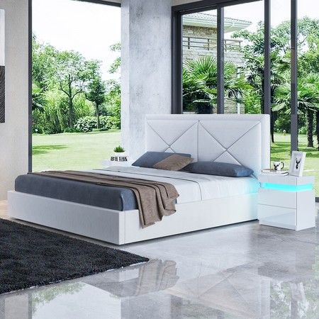 Modern White Leather Storage Bed Frame - Queen
